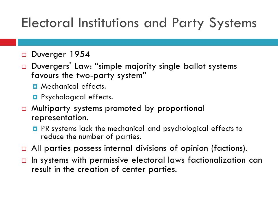 Overlapping Dualisms and Multipartyism  Multiparty systems can arise from:  1) party factions  2) overlapping dualisms.