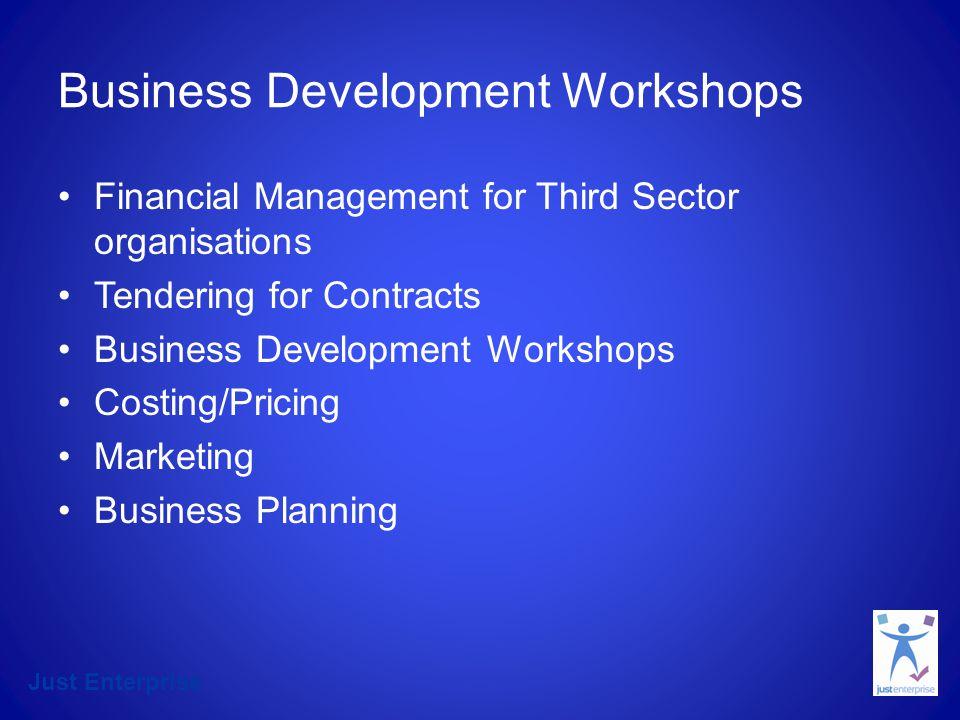 Just Enterprise Just EnterpriseYear 1 General enquiries2001 Business Support approvals219 Business Development Workshops502 Start up1-1365 Start up workshops180 Leadership Programmes123
