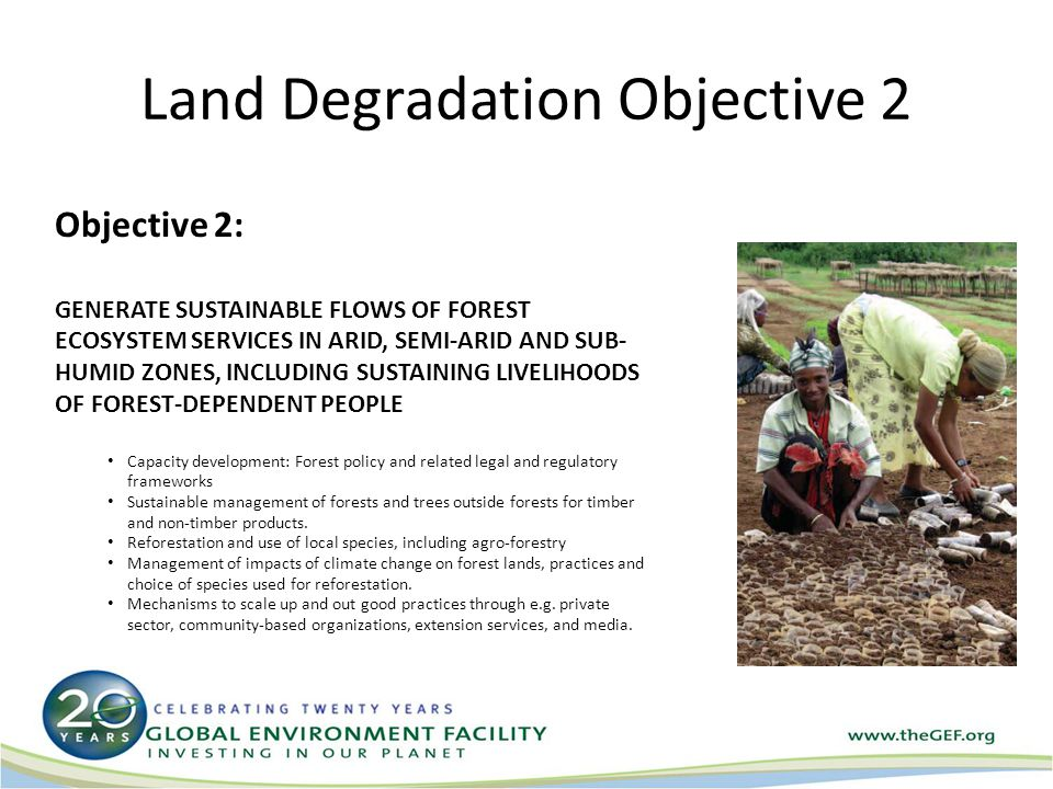 Land Degradation Objective 3 Objective 3: REDUCE PRESSURES ON NATURAL RESOURCES FROM COMPETING LAND USES IN THE WIDER LANDSCAPE Capacity development to improve decision-making in management of production landscapes Developing innovative financing mechanisms such as Paying for ecosystems Services Improving management of agricultural activities within the vicinity of protected areas Integrated watershed management, including transboundary areas where SLM interventions can improve hydrological functions and services for agro- ecosystem productivity (crop and livestock).