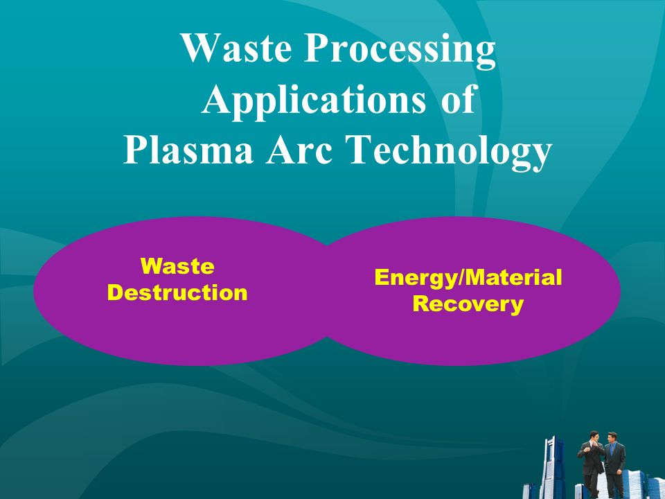 Waste Destruction Applications Melting and vitrification of inorganic materials Pyrolysis of organic materials Molten metal or glass bath provides heat transfer Heat causes breakdown of complex materials into elemental components Rapid quenching prevents complex compound formation (dioxins and furans) Water gas shift reaction to remove carbon C + H 2 O H 2 + CO Gaseous products are fuel and simple acid gases Vitreous residue is resistant to leaching – suitable for aggregate