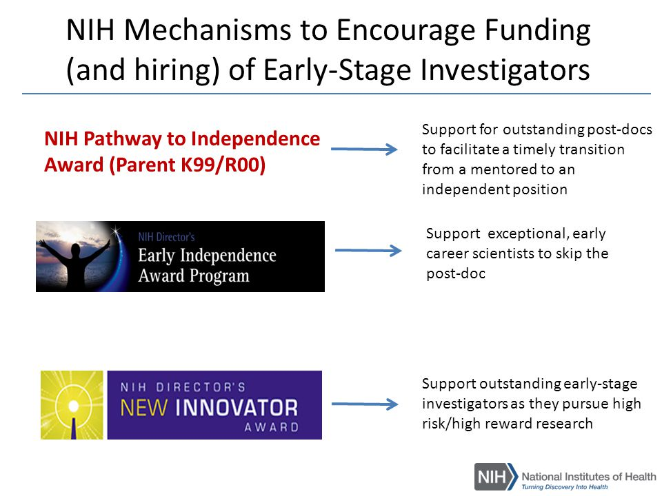 K99/R00 NIH Pathway to Independence (PI) Award  To facilitate a timely transition from a mentored postdoctoral research position to a stable independent research position with independent NIH or other independent research support at an earlier stage than is currently the norm.