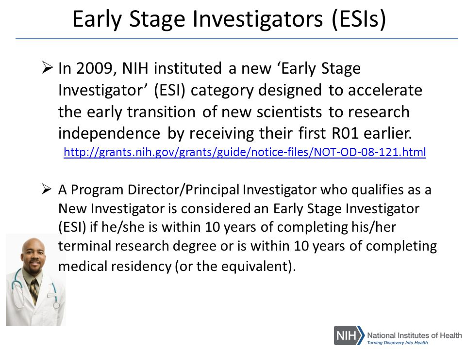 Implementation of ESI Definition  The NIH modified the collection of information on degree dates and medical residency within the personal profile of the eRA Commons.