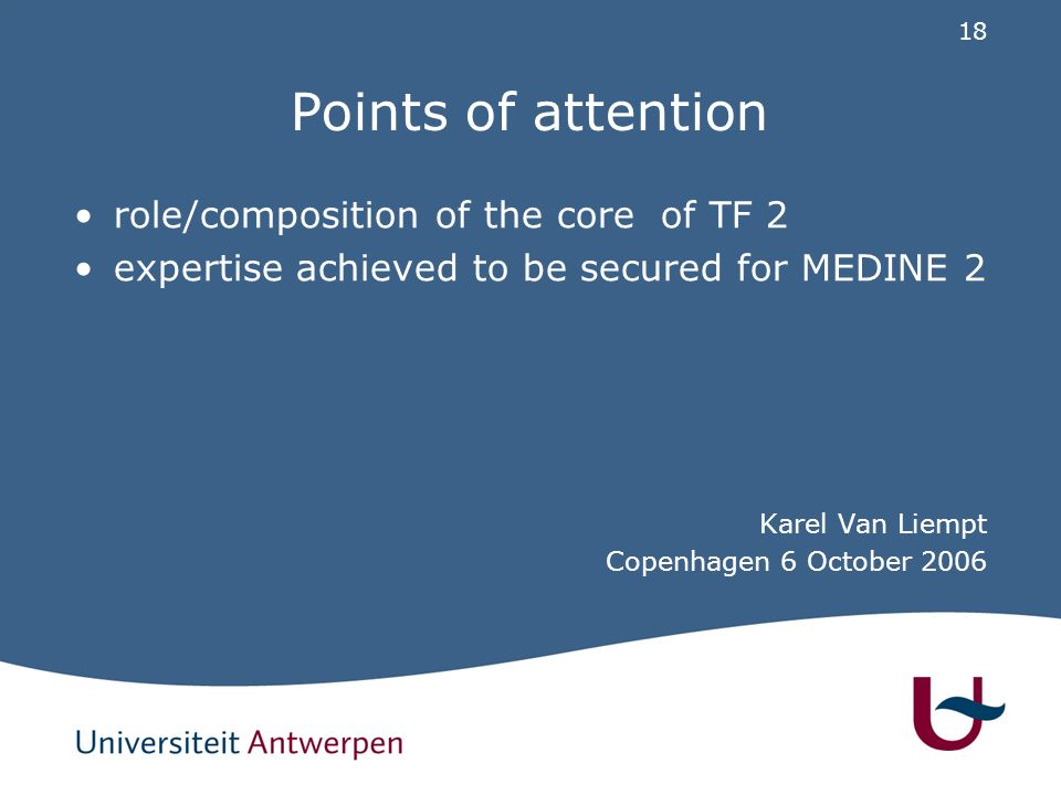 18 Points of attention role/composition of the core of TF 2 expertise achieved to be secured for MEDINE 2 Karel Van Liempt Copenhagen 6 October 2006