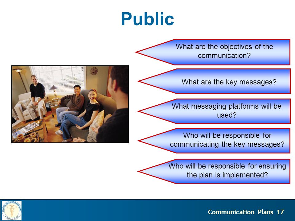18Communication Plans Press What are the objectives of the communication.
