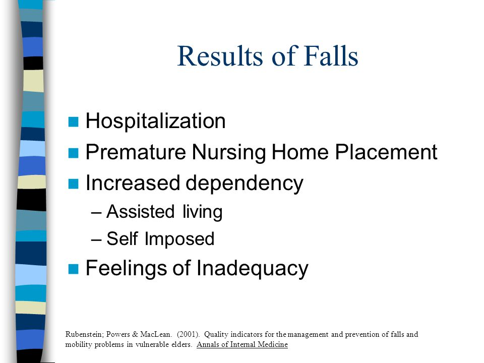 Results of Falls Hospitalization Premature Nursing Home Placement Increased dependency –Assisted living –Self Imposed Feelings of Inadequacy Rubenstein; Powers & MacLean.