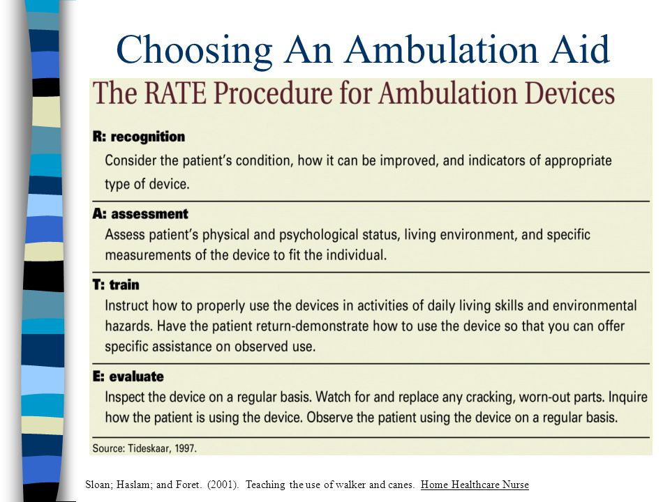 Choosing An Ambulation Aid Sloan; Haslam; and Foret.