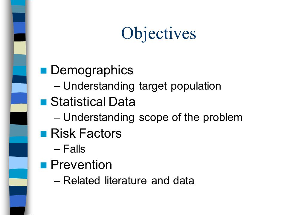 Objectives Demographics –Understanding target population Statistical Data –Understanding scope of the problem Risk Factors –Falls Prevention –Related literature and data