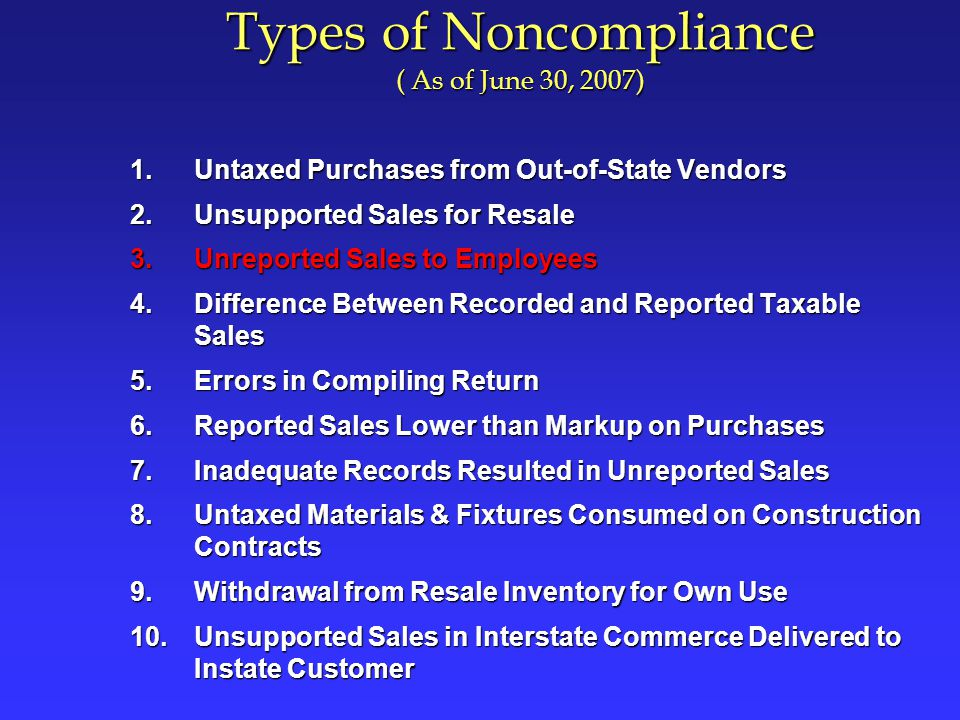 Unreported Sales to Employees ` If you sell items to your employees, tax is due on the selling price chargedIf you sell items to your employees, tax is due on the selling price charged Sales to your employees must be reported on your sales and use tax returnSales to your employees must be reported on your sales and use tax return