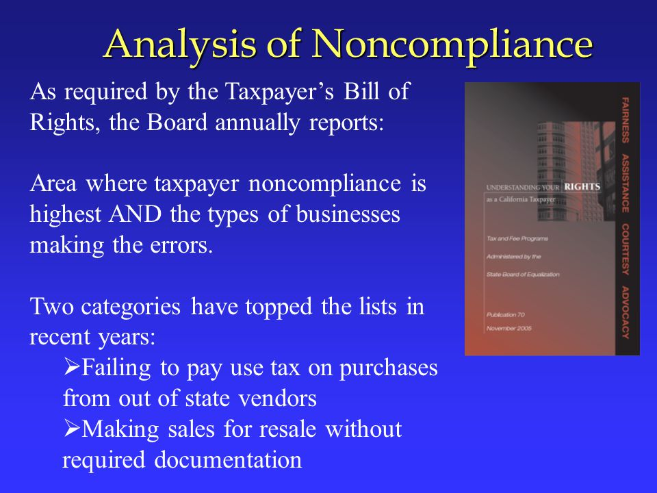 Types of Noncompliance ( As of June 30, 2007) 1.Untaxed Purchases from Out-of-State Vendors 2.