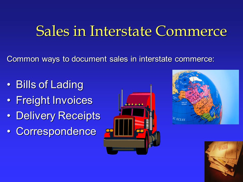 Unsupported Sales in Interstate Commerce Delivered to Instate Customers Delivery to a purchaser in California for subsequent shipment to another state is taxable.Delivery to a purchaser in California for subsequent shipment to another state is taxable.