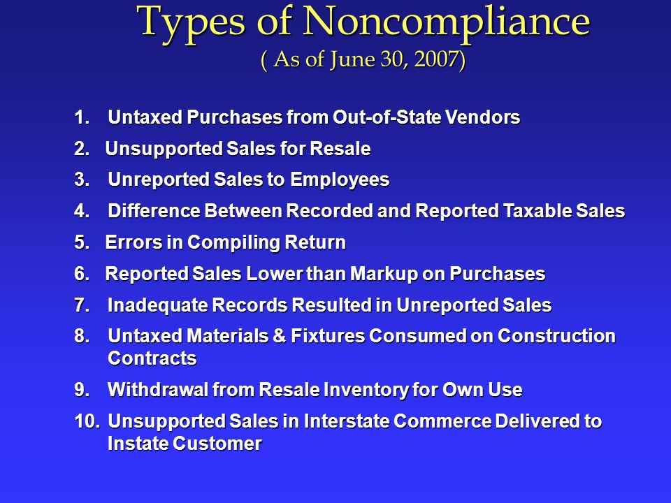 Types of Noncompliance ( As of June 30, 2007) 1.Untaxed Purchases from Out-of-State Vendors 2.Unsupported Sales for Resale 3.Unreported Sales to Employees 4.Difference Between Recorded and Reported Taxable Sales 5.
