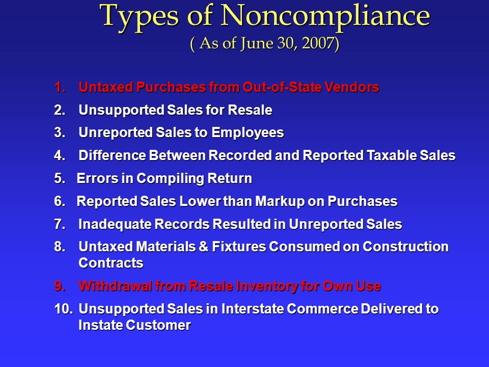 Untaxed Purchases From Out of State Vendors From out-of-state businesses andFrom out-of-state businesses and Purchased for own use (not inventory)Purchased for own use (not inventory) Items purchased without payment of California tax: