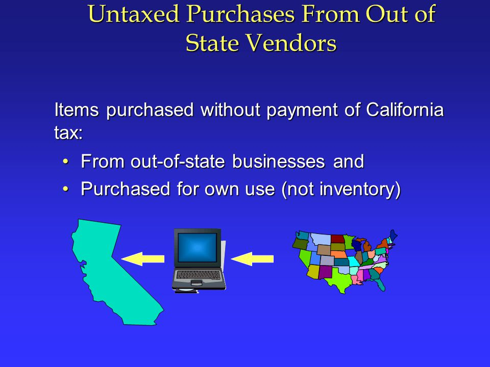 Withdrawal from Resale Inventory for Own Use Inventory items purchased with a resale certificate without payment of tax Resale Inventory Analysis of the California Sales and Use Tax Law Items withdrawn from inventory for use other than resale (including use as gifts and free samples or for personal use) = Use Tax Due on Cost