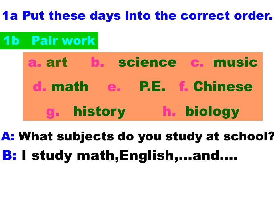 1a Put these days into the correct order.A: What subjects do you study at school.