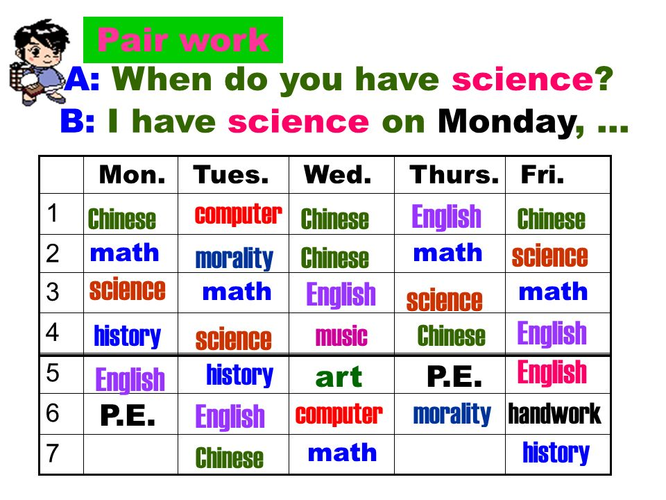 A: When do you have science.B: I have science on Monday, … morality 7 6 5 4 3 2 1 Fri.