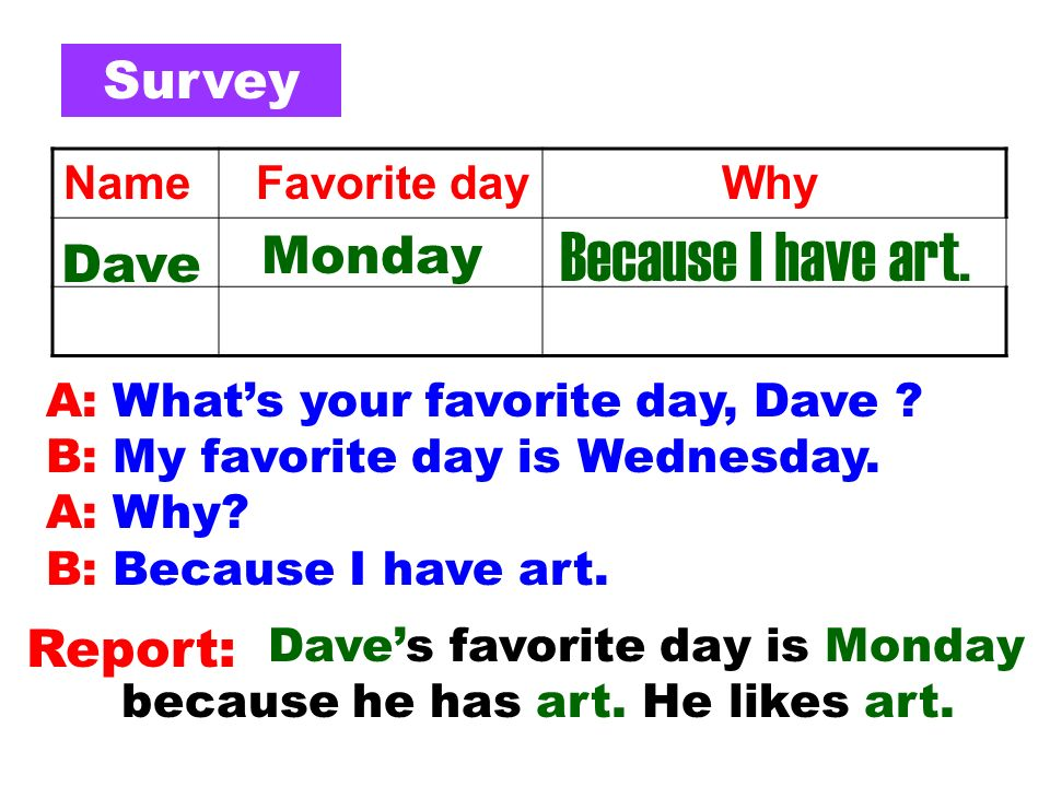 A: Whats your favorite day, Dave .B: My favorite day is Wednesday.