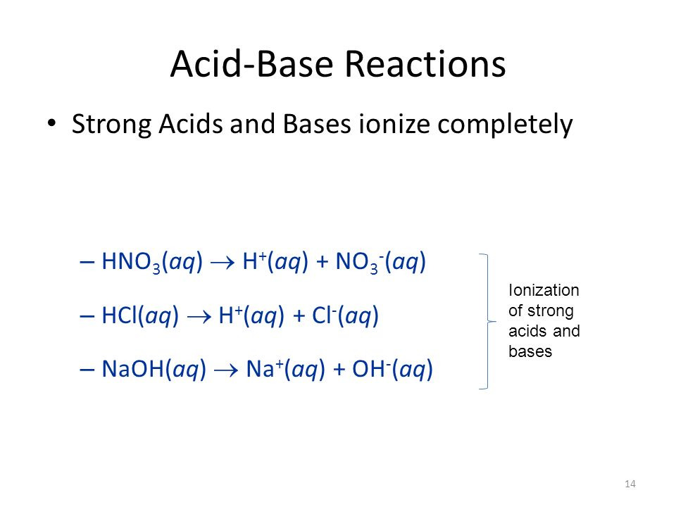 Acid-Base Reactions Strong Acids and Bases ionize completely – HNO 3 (aq) H + (aq) + NO 3 - (aq) – HCl(aq) H + (aq) + Cl - (aq) – NaOH(aq) Na + (aq) + OH - (aq) Ionization of strong acids and bases 14