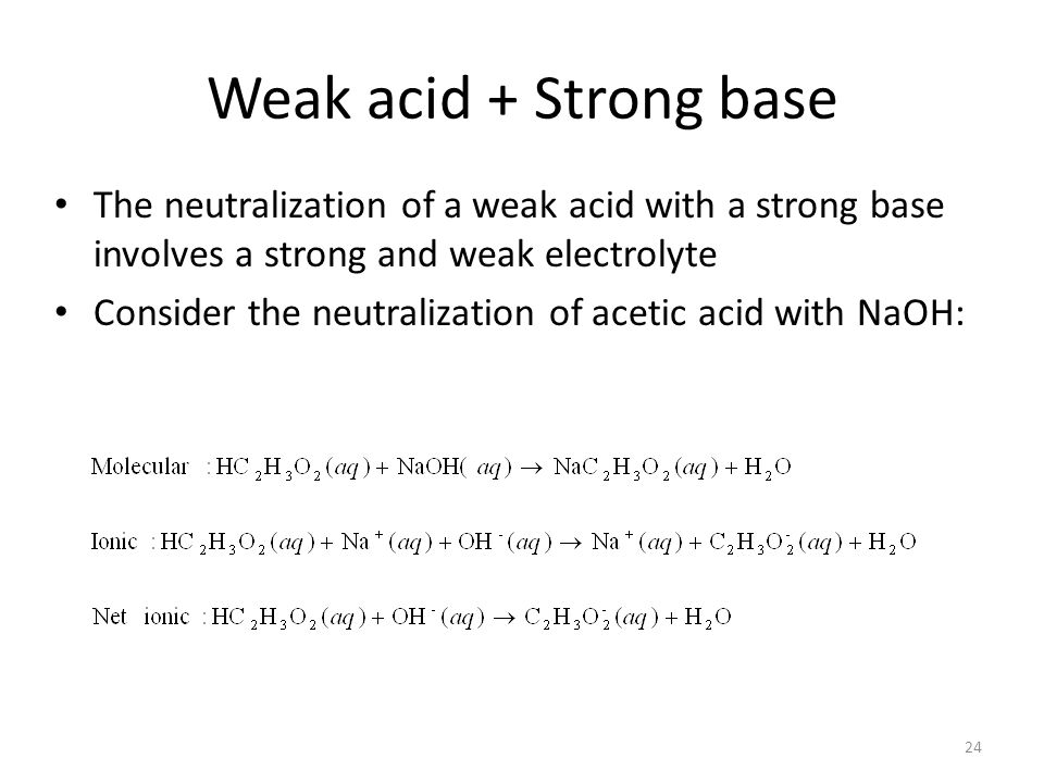 Weak acid + Strong base The neutralization of a weak acid with a strong base involves a strong and weak electrolyte Consider the neutralization of acetic acid with NaOH: 24