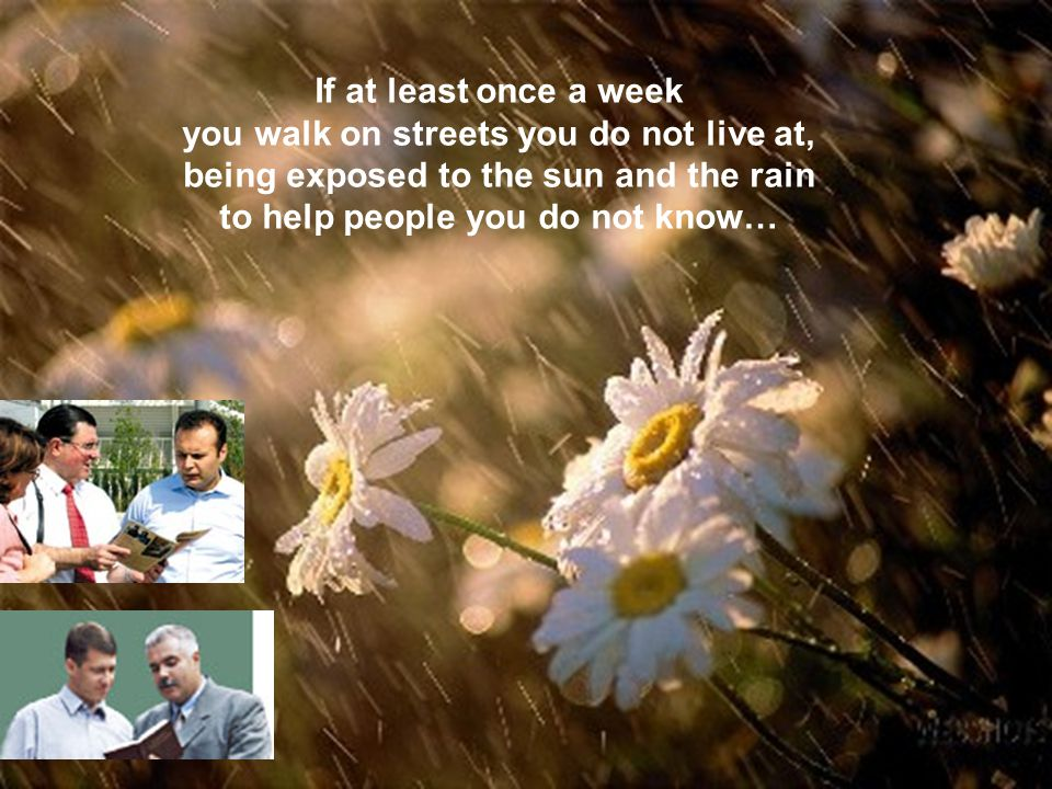 If at least once a week you walk on streets you do not live at, being exposed to the sun and the rain to help people you do not know…