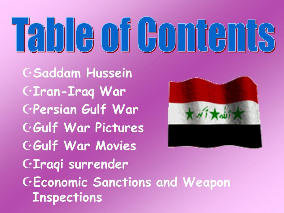 Saddam Hussein Iran-Iraq War Persian Gulf War Gulf War Pictures Gulf War Movies Iraqi surrender Economic Sanctions and Weapon Inspections