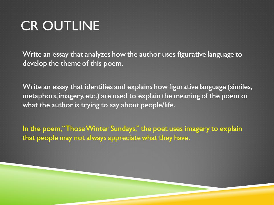 CR OUTLINE In the poem, Those Winter Sundays, the poet uses imagery to explain that people may not always appreciate what they have.