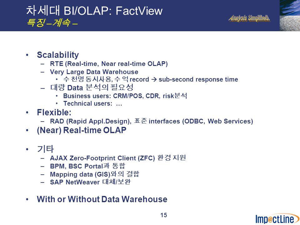 16 FV 의 주된 작업은 데이터 위치확인, 필요한 분석방법 결정 등 차세대 BI/OLAP: FactView 개발 절차