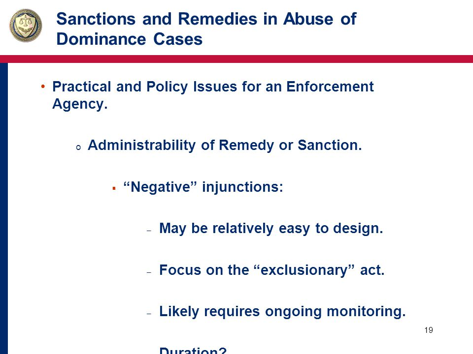 20 Sanctions and Remedies in Abuse of Dominance Cases Practical and Policy Issues for an Enforcement Agency.