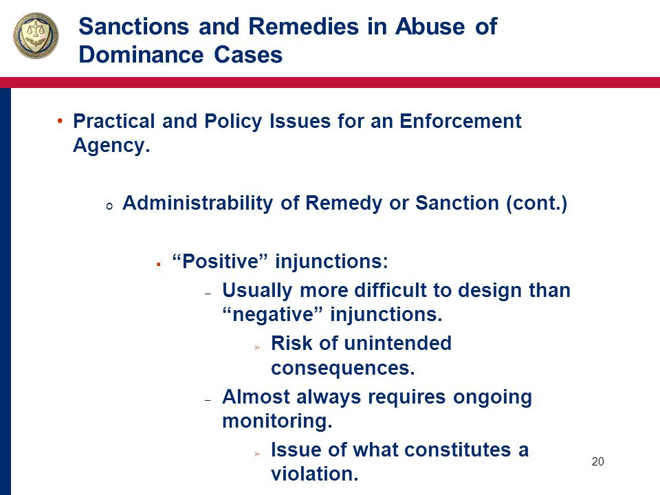 21 Sanctions and Remedies in Abuse of Dominance Cases Practical and Policy Issues for an Enforcement Agency.