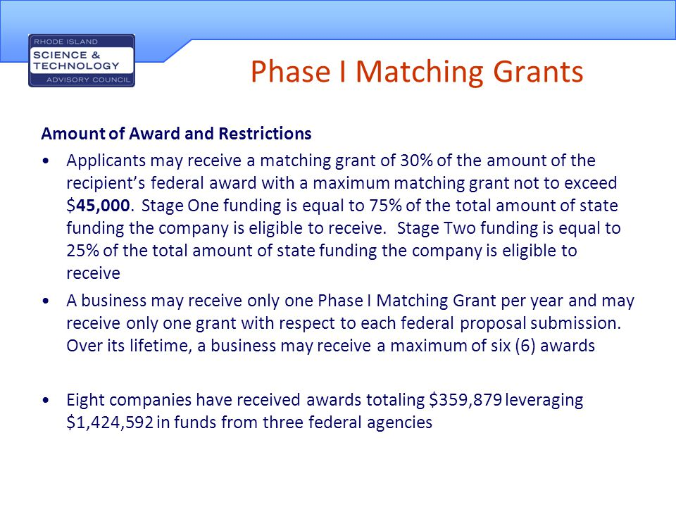 Phase I Matching Grants Application Process Electronic application through the STAC website.