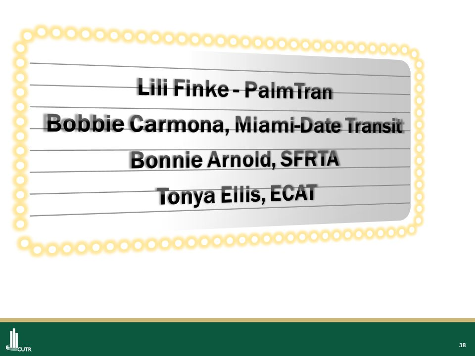 Center for Urban Transportation Research | University of South Florida End Thank You