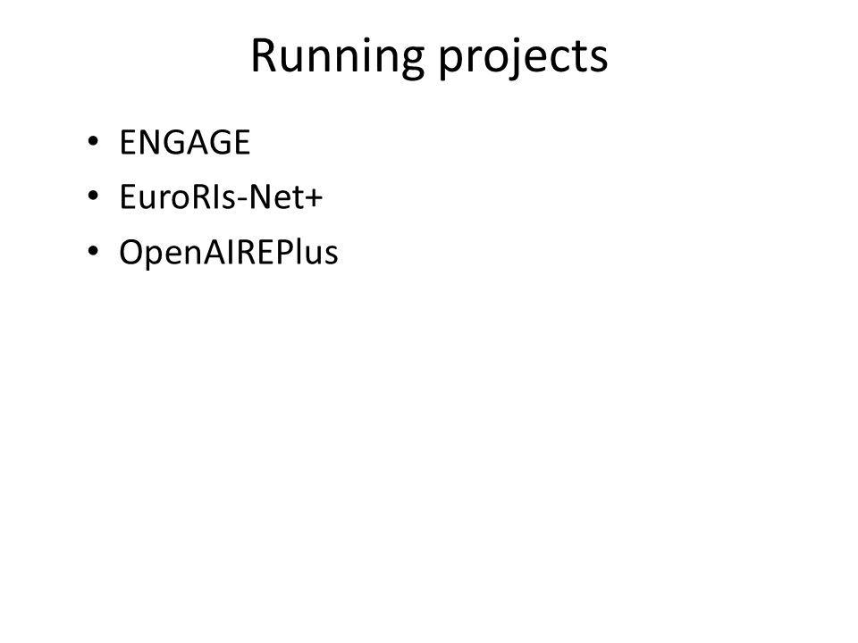 Report on ENGAGE ENGAGE review: first week of July 2012 - successful WP3: Architecture proposed by STFC and euroCRIS has been adopted by the consortium – CERIF is central to this architecture WP5: The CERIF back-end software first version delivered by euroCRIS (October 2012) – expected to be integrated to the ENGAGE platform until January 2013 WP4: Evaluation of ENGAGE scenarios – Deliverable due December 2012 – First draft completed – under review