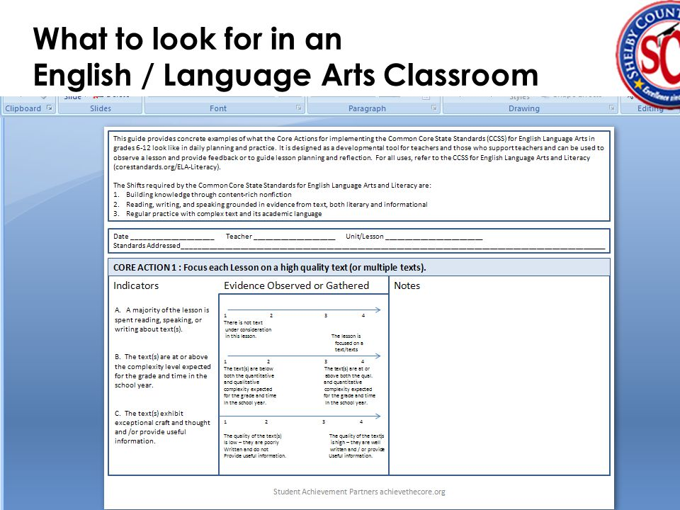 Informal Observational Tool  From Achieve the Core (for ELA)  A two-page Power Point  Can be saved as  Can be filled-out quickly  Can be emailed to teacher being observed before you leave their classroom.