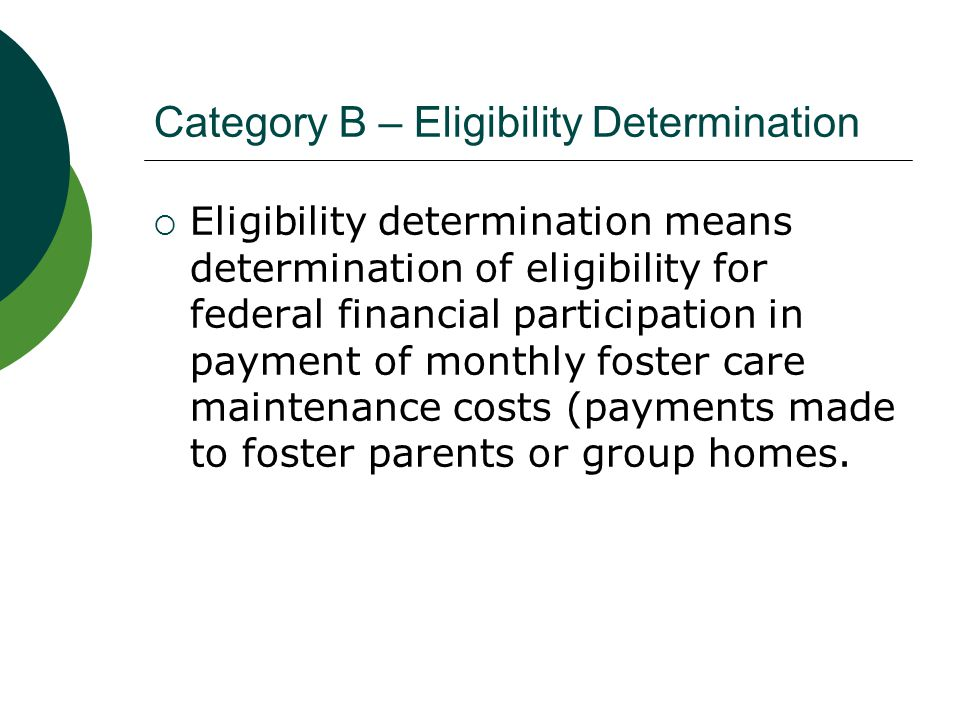 Category B – Eligibility Determination Types of activities  Birth certificates or other documents establishing date and place of birth  Citizenship or resident alien status  Social security number(s) of minor and parent(s)/guardian(s).
