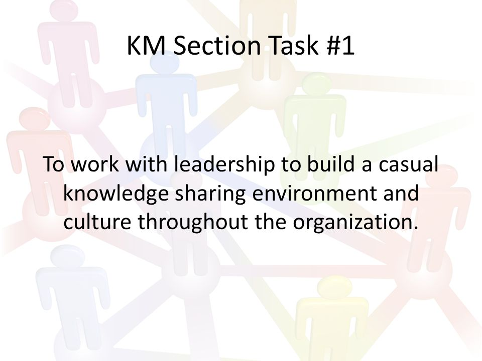 KM Section Task #2 To improve situational awareness throughout the organization.