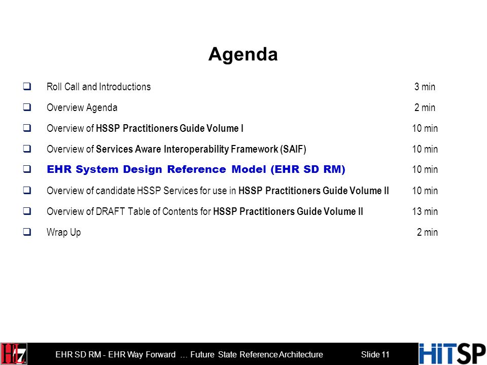 Slide 11 EHR SD RM - EHR Way Forward … Future State Reference Architecture Agenda Roll Call and Introductions 3 min Overview Agenda 2 min Overview of HSSP Practitioners Guide Volume I 10 min Overview of Services Aware Interoperability Framework (SAIF) 10 min EHR System Design Reference Model (EHR SD RM) 10 min Overview of candidate HSSP Services for use in HSSP Practitioners Guide Volume II 10 min Overview of DRAFT Table of Contents for HSSP Practitioners Guide Volume II 13 min Wrap Up 2 min