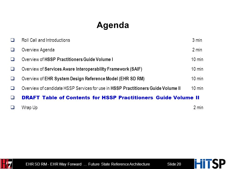 Slide 20 EHR SD RM - EHR Way Forward … Future State Reference Architecture Agenda Roll Call and Introductions 3 min Overview Agenda 2 min Overview of HSSP Practitioners Guide Volume I 10 min Overview of Services Aware Interoperability Framework (SAIF) 10 min Overview of EHR System Design Reference Model (EHR SD RM) 10 min Overview of candidate HSSP Services for use in HSSP Practitioners Guide Volume II 10 min DRAFT Table of Contents for HSSP Practitioners Guide Volume II Wrap Up 2 min