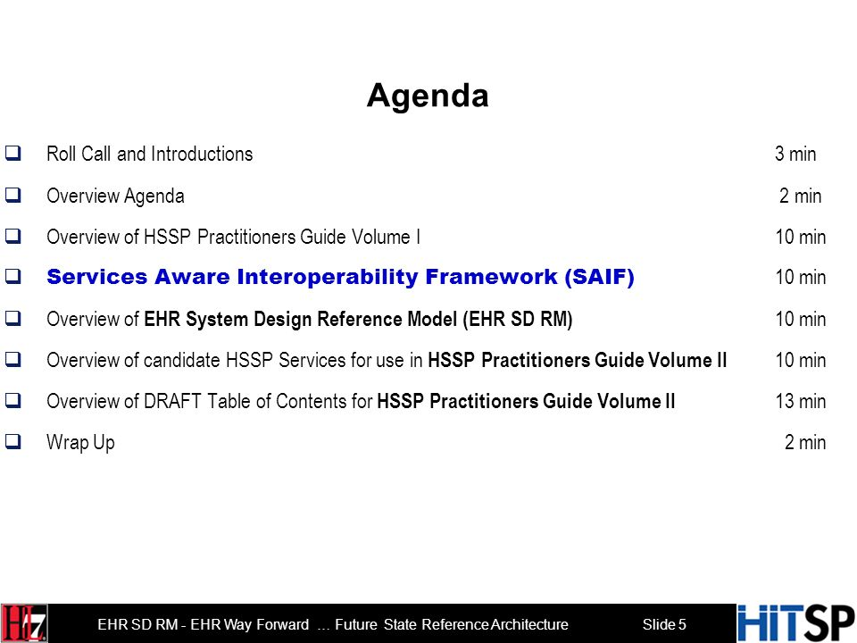 Slide 5 EHR SD RM - EHR Way Forward … Future State Reference Architecture Agenda Roll Call and Introductions 3 min Overview Agenda 2 min Overview of HSSP Practitioners Guide Volume I 10 min Services Aware Interoperability Framework (SAIF) 10 min Overview of EHR System Design Reference Model (EHR SD RM) 10 min Overview of candidate HSSP Services for use in HSSP Practitioners Guide Volume II 10 min Overview of DRAFT Table of Contents for HSSP Practitioners Guide Volume II 13 min Wrap Up 2 min