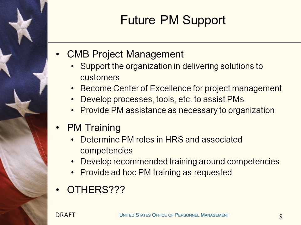 9 DRAFT Next Steps Refine PM CoP logistics Frequency Attendees Codify PM CoP with charter and send out Set up PM CoP knowledge portal Establish upcoming meetings Others???