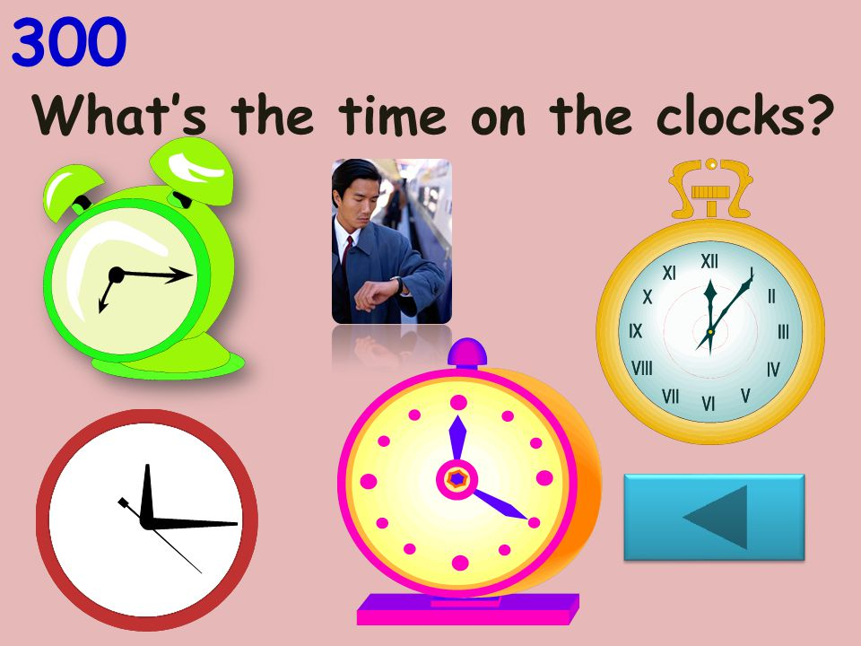 What's the time on the clocks? 300