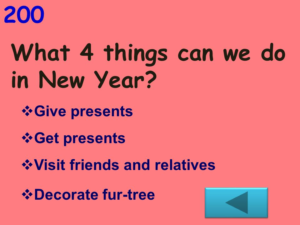 What 4 things can we do in New Year.