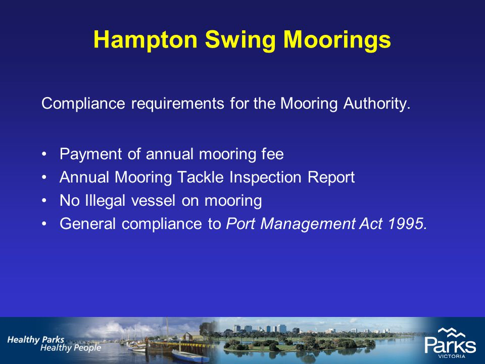 Hampton Swing Moorings IssueAction Step 1Fail to comply with the terms and conditions of the Authority Send advisory letter giving 14 days to rectify Step 2If the breach of the terms and conditions continues then there are grounds to cancel the authority The mooring holder is given written notice that states: (i) grounds for the cancellation; (ii) the reasons for that opinion; and (iii the holder of the authority may make written submission in response to the notice within 14 days of the notice Cancellation letter sent.