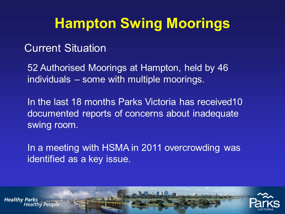 Hampton Swing Moorings Current Situation The mooring ground is tight with swing rooms having been reduced due to a range of issues, including a tendency for larger boats, moorings being shifted and sand encroachment.