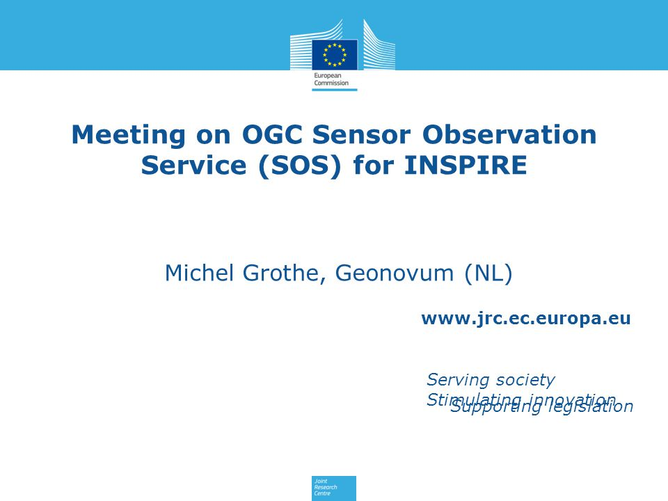 Previous SOS experiences Scope: [Describe in which context you have been providing/consuming observation data through SOS and/or any other relevant SOS experience] Geonovum is not a INSPIRE data provider, but has experience with SOS for weather station data and is involved in INSPIRE air quality data project with RIVM.