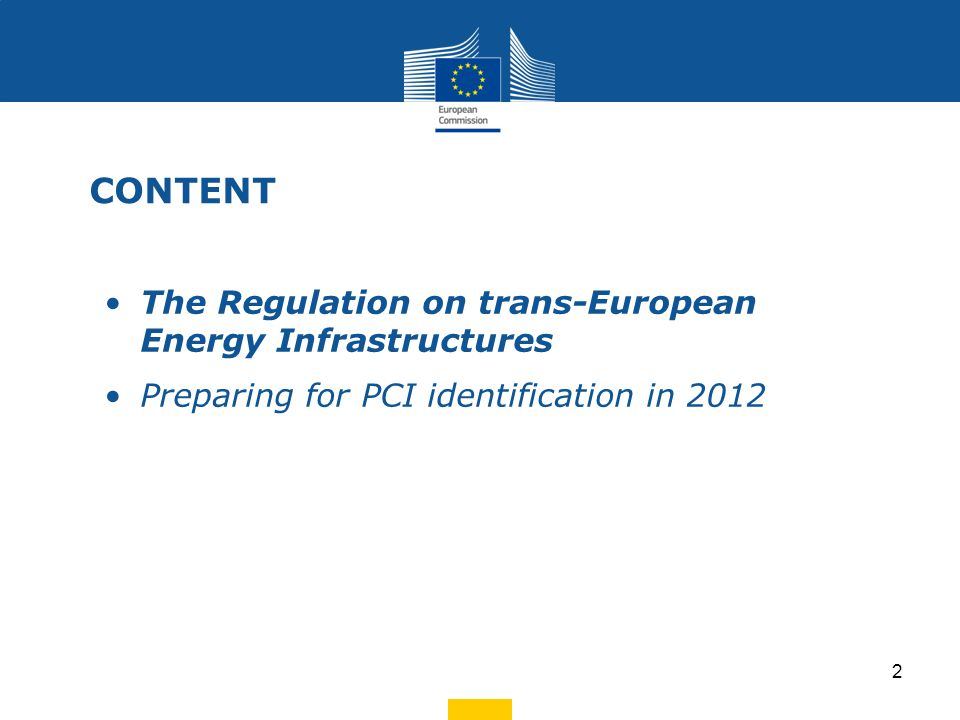 The legislative proposals of the package Regulation on the Guidelines on energy infrastructure Broadband and digital infrastructure guidelines TEN-Transport guidelines CEF - growth initiative Three sectorial infrastructure policy proposals Connecting Europe Facility: Budget EUR Energy – 9.12bn Transport – 30bn ICT – 9.1bn