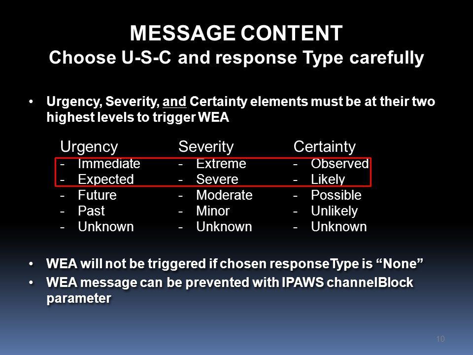 MESSAGE CONTENT NWS Custom CAP Parameters 11