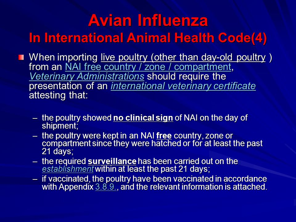 Avian Influenza In International Animal Health Code(5) When importing fresh meat of poultry from an NAI free country, zone or compartment, Veterinary Administrations should require the presentation of an international veterinary certificate attesting that the entire consignment of fresh meat comes from birds: fresh meat NAI free country, zone or compartment Veterinary Administrationsinternational veterinary certificatefresh meatfresh meat NAI free country, zone or compartment Veterinary Administrationsinternational veterinary certificatefresh meat –which have been kept in an NAI free country, zone or compartment since they were hatched or for at least the past 21 days; –which have been slaughtered in an approved abattoir and have been subjected to ante-mortem and post- mortem inspections for NAI with favourable results.