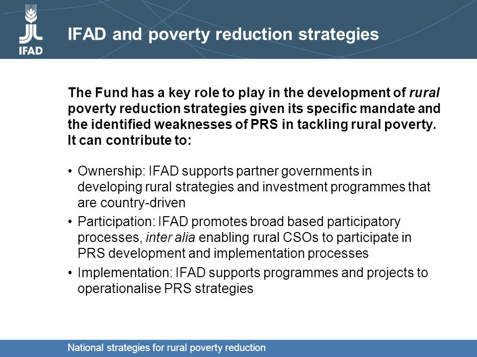 National strategies for rural poverty reduction Questions for discussion: some suggestions What should be the main components of PRSs.