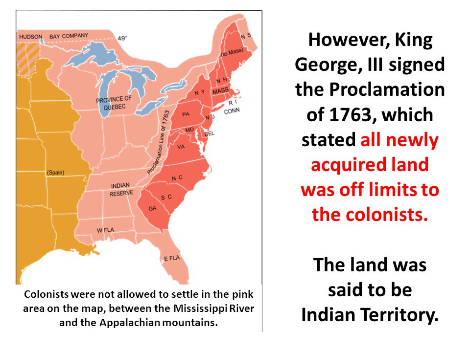 The line of proclamation was the original boundary for the 13 colonies.
