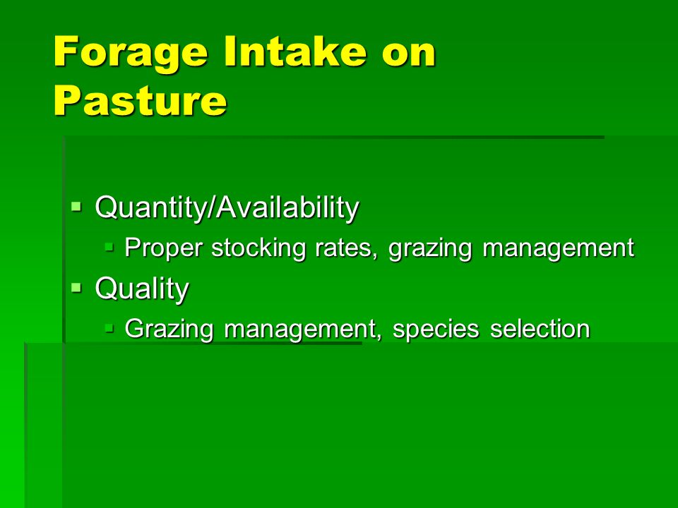 Effect of Forage Availability on Relative Forage Intake