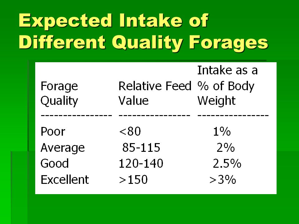 Estimated Nutrient Content of Tall Fescue at Different Maturities NDF % ADF % CP % NEmMcal/lbNEgMcal/lb Vegetative4927200.700.39 Late boot 5736160.580.29 Mature704280.530.23